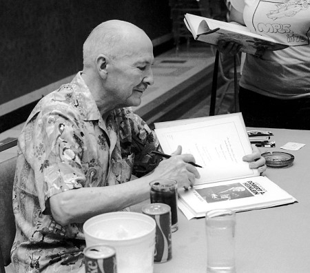 Robert Heinlein autographing at MidAmericon, 1976